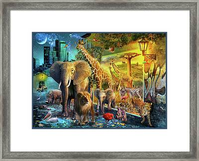 Framed Print featuring the drawing City Animals by Jan Patrik Krasny