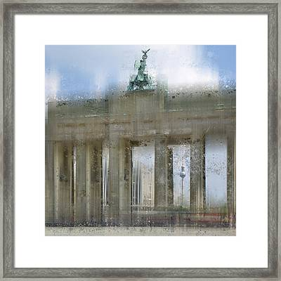 City-art Berlin Brandenburg Gate Framed Print by Melanie Viola