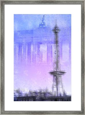City-art Berlin Radio Tower And Brandenburg Gate Blue/pink Framed Print by Melanie Viola