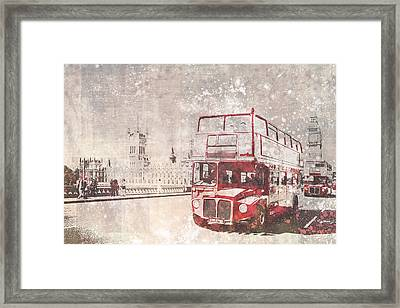 City-art London Red Buses II Framed Print by Melanie Viola