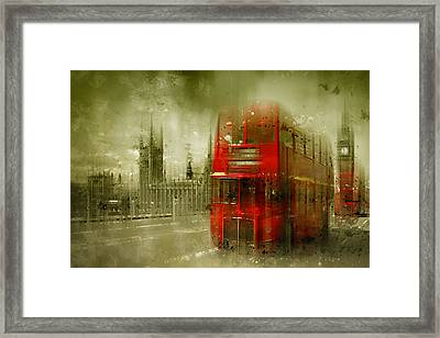 City-art London Red Buses Framed Print by Melanie Viola