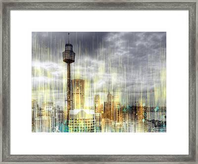 City-art Sydney Rainfall Framed Print by Melanie Viola