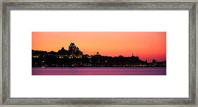 City At Dusk, Chateau Frontenac Hotel Framed Print