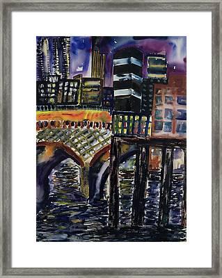 City At Night Framed Print by Hilary Rosen
