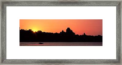City At Sunset, Chateau Frontenac Framed Print by Panoramic Images