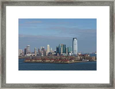 City At The Waterfront, Ellis Island Framed Print
