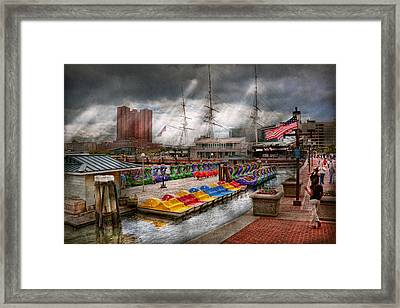 City - Baltimore Md - Modern Maryland Framed Print by Mike Savad
