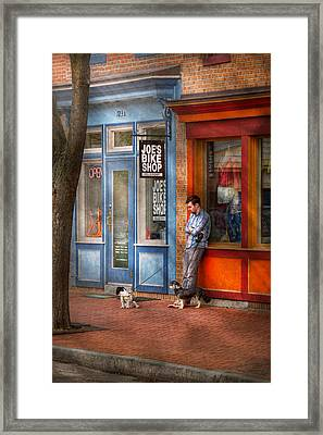 City - Baltimore Md - Waiting By Joe's Bike Shop  Framed Print by Mike Savad