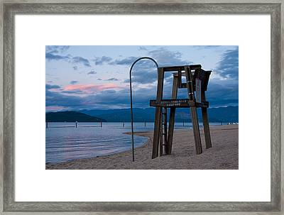 City Beach Life Guard Framed Print by Marie-Dominique Verdier