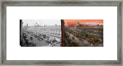 City - Boston Mass - Morning At The Farmers Market - 1904 - Side By Side Framed Print by Mike Savad