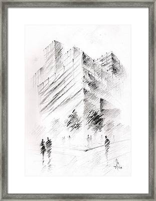 Framed Print featuring the drawing City Building by Fanny Diaz