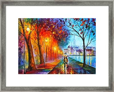 City By The Lake Framed Print