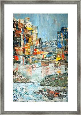 City By The River - Sold Framed Print by Judith Espinoza