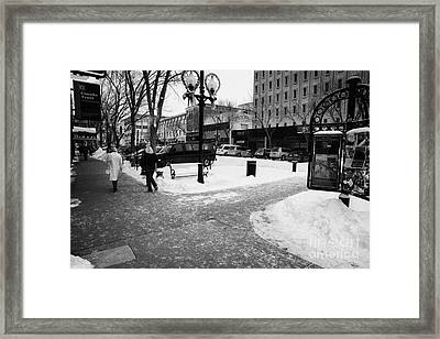 city center cleared sidewalks in downtown Saskatoon Saskatchewan Canada Framed Print by Joe Fox