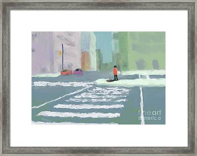 City Crosswalk Framed Print by Arlene Babad