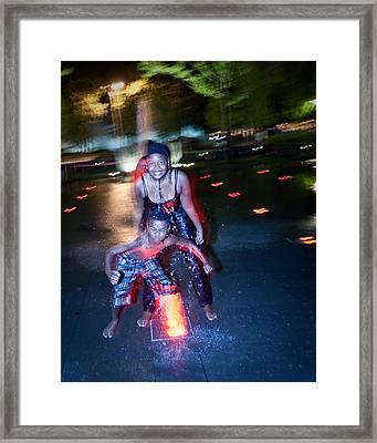 Framed Print featuring the photograph City Garden Fountain Fun by David Coblitz