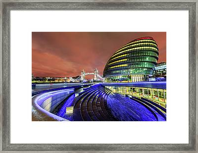City Hall And Tower Bridge At Night Framed Print by Joe Daniel Price