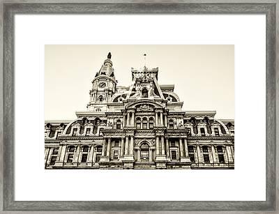 City Hall Facade - Philadelphia - Sepia Framed Print