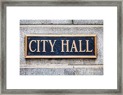 City Hall Municipal Sign In Chicago Framed Print by Paul Velgos
