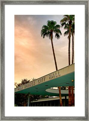 City Hall Sky Palm Springs City Hall Framed Print