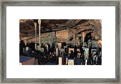 City In A Cavern Framed Print by Hal Tenny