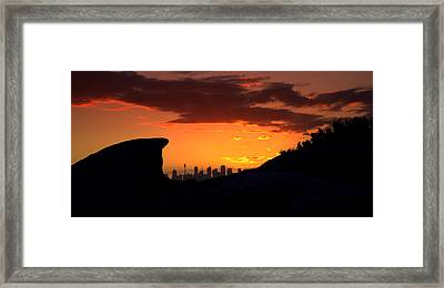 Framed Print featuring the photograph City In A Palm Of Rock by Miroslava Jurcik