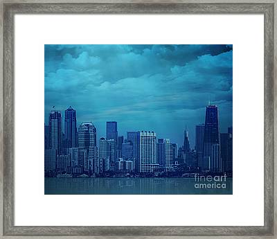 City In Blue Framed Print
