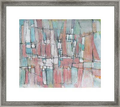 City In Peach And Turquoise Framed Print by Hari Thomas