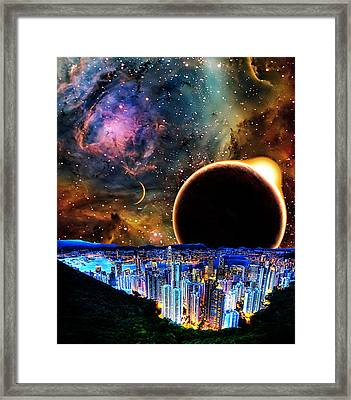 City In Space Framed Print by Bruce Iorio