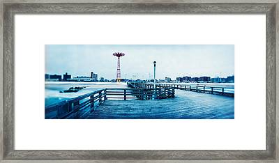 City In Winter, Coney Island, Brooklyn Framed Print by Panoramic Images