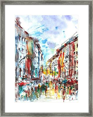 Framed Print featuring the painting City Life... by Faruk Koksal