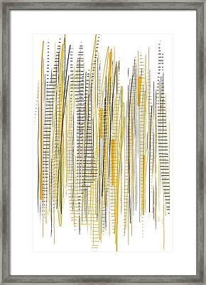 City Life- Yellow And Gray Art Framed Print