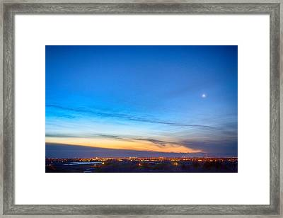 City Lights And A Venus Morning Sky Framed Print