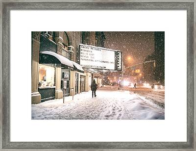 City Lights And Snow At Night - New York City Framed Print