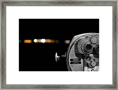 City Lights In Bokeh Framed Print by Andrew Crispi