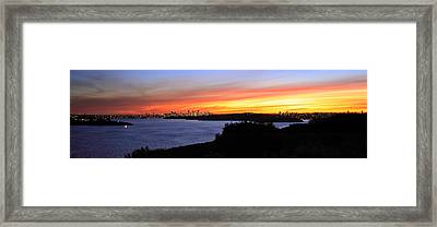 Framed Print featuring the photograph City Lights In The Sunset by Miroslava Jurcik