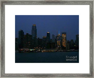 City Lights Of New York Framed Print by Avis  Noelle