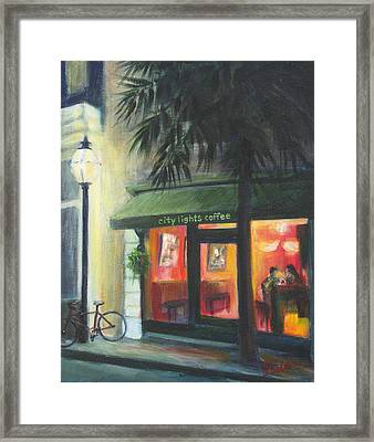 City Lights On Market St. Framed Print