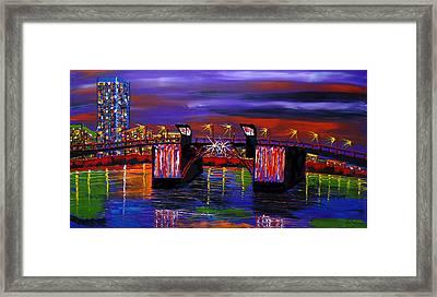 City Lights Over Morrison Bridge 6 Framed Print by Portland Art Creations