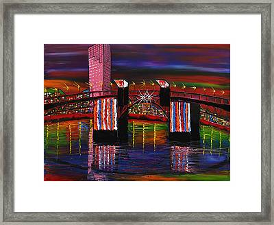 City Lights Over Morrison Bridge 8 Framed Print by Portland Art Creations