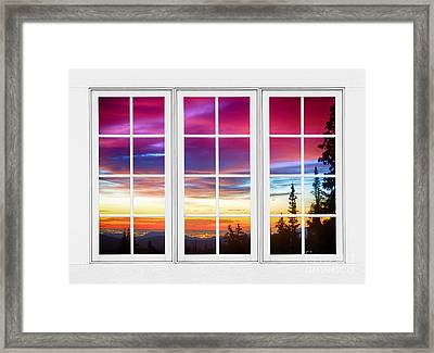 City Lights Sunrise View Through White Window Frame Framed Print