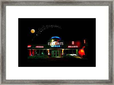 City Limits Diner Under Stars Framed Print by Diana Angstadt