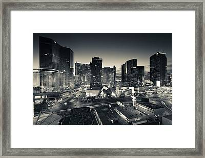 City Lit Up At Dusk, Citycenter Las Framed Print
