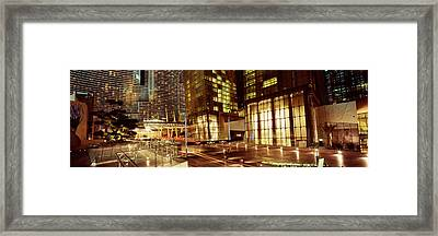 City Lit Up At Night, Citycenter, The Framed Print