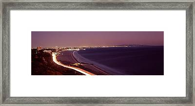 City Lit Up At Night, Highway 101 Framed Print