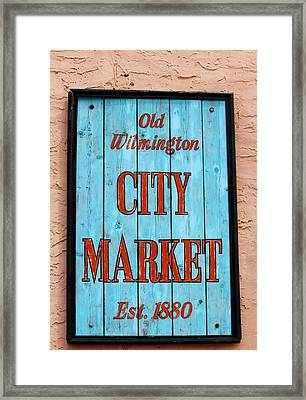 City Market Sign Framed Print by Cynthia Guinn