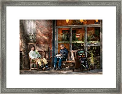 City - New York - Greenwich Village - The Path Cafe  Framed Print by Mike Savad
