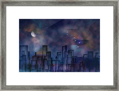 Framed Print featuring the digital art City Night by Bruce Rolff