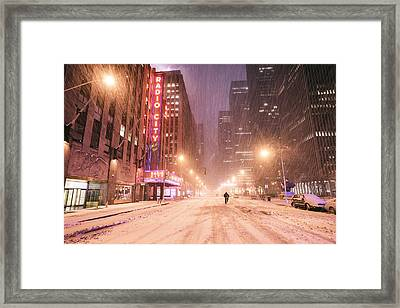 City Night In The Snow - New York City Framed Print
