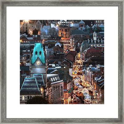City Night View At Christmas Framed Print by Simon Bratt Photography LRPS